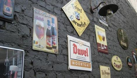The wall of the terrace at Cafe Rose Red, Brugge, Belgium
